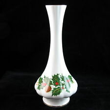 """Christmas bud vase Queen's Rosina China Co Yuletide 7"""" holly berries pine cone"""