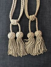 (2) Curtain Tiebacks, Holdbacks Window Drapery Rope Holder with Tassels