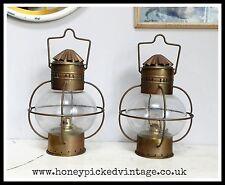 2 Vintage Cobre y Latón Lámpara Luz Colgante de barcos cebolla marina marítimo náutica