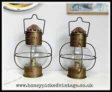 2 Vintage Copper & Brass Hanging Ships Onion Lamp Light Nautical Maritime Marine