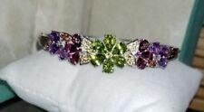 Ross Simons Sterling silver Amethyst-Rhodolite-citrine-flower bangle bracelet