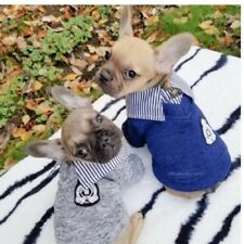 Pet Clothes Dog Cat Sweater Shirt Coat Jacket School Costume Warm Blue Cute