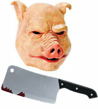 Horror Pig Mask with Cleaver Butchers Knife Texas Halloween Fancy Dress Costume