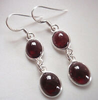 Garnet Double Gem Oval 925 Sterling Silver Dangle Earrings Corona Sun Jewelry