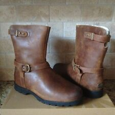 UGG GRANDLE CHESTNUT WATER-RESISTANT LEATHER  SHEEPSKIN BOOTS US 12 WOMENS
