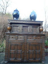 Scottish 19th Century Large Antique Carved Oak Court Castle Cupboard Sideboard