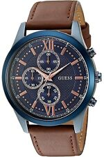New Guess Men U0876G3 Chronograph Navy Dial Leather Brown Band Sport Watch