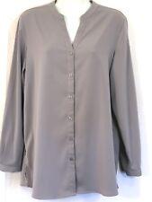 Susan Graver Women's Career V-Neck Mandarin Collar Button-Front Blouse Gray Sz 6