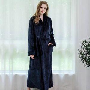 Women's Men's SOFT&COZY FLEECE DRESSING GOWN BATHROBE ROBE PLUS SIZES UK