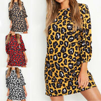 Womens Long Sleeve Leopard Print T-Shirt Casual Loose Summer Fall Tunic Dress UK