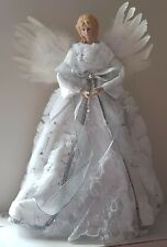 Luxury White Tree Top Angel 40cm White Feather Wings Faux Fur Skirt Sequins