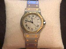 Cartier Santos Uhr Unisex Herrenuhr Octagon mit Datum in Stahl /18k 750 Gold