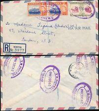 JAMAICA 1960 REGISTERED...NEWTON TEMPORARY RUBBER OVALS + ETIQUETTE...AIRMAIL