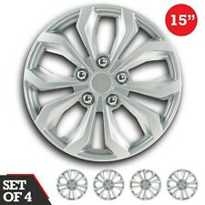 """Set of 4 Hubcaps 15"""" SWISS DRIVE Wheel Cover """"SPA"""" SILVER ABS Easy Install"""