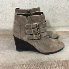 7aacc6ea2c4 Franco Sarto Women s Size 6M Walice Suede Ankle Wedge Booties Light Brown