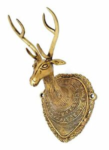 Vintage Deer Head Brass Wall Hanging Idol Statue Sculpture Figurines Home Decor
