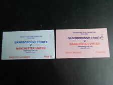GAINSBOROUGH v MANCHESTER UNITED Centenary FRIENDLY 2 Tickets Pink + White 1998