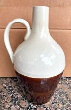 Rare Small Antique Pottery Whiskey Jug salt glazed and brown