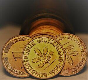 Rare Gem Unc Roll (50) Germany 1950-J Pfenning Coins~Minted In Hamburg~Free Ship