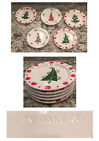 """VINTAGE Ganz 6"""" Pottery Appetizer Plates Set of 5 Christmas Holiday"""