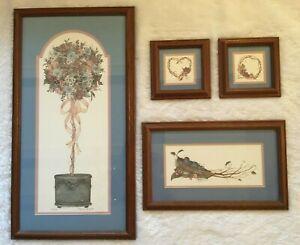 Laurie Leonard Stencil Designs Framed Matted Prints Farmhouse Birds Set Of 4