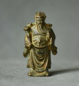 4cm Old Chinese Copper Feng Shui Mammon Money Wealth God Buddha Statue