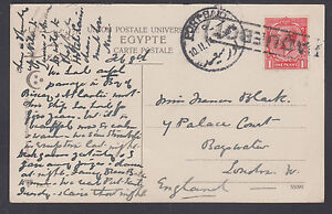 """Great Britain Sc 160 on 1914 Paquebot PPC, Egypt to England, """"Rue de Lesseps"""""""