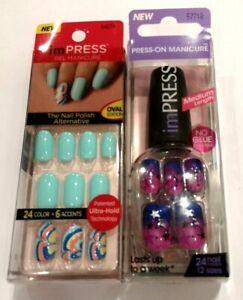 Kiss Impress Press On Nails - Pink & Purple Stars & Aqua & Rainbow