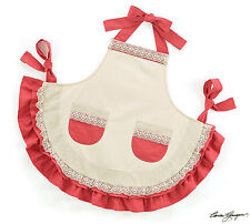 Brown and Red Kitchen Apron Ruffled with 2 Pockets Bow Ties Ribbon Lace