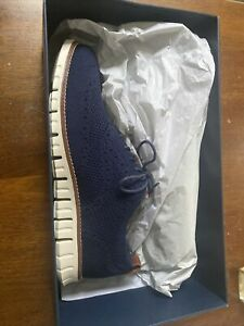 Cole Haan Mens Zerogrand Stichlight Oxford Marine Blue/Ivory Wing Tips Size 9 M
