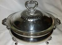 Vintage Wallace Royal Rose (9817) Silver Plated Covered Casserole & Pyrex Insert