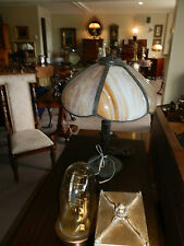 GORGEOUS RARE ANTIQUE VICTORIAN SLAG GLASS LAMP W/ORIGINAL GLASS 100% INTACT