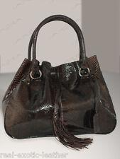 Python Snakeskin Tassle Bag Large Cognac Brown  ### NEW ###