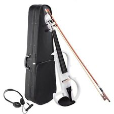 4/4 Electric Maple Violin Right Hand Full Size Concert w/ Headphone Case White