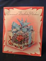 "#1919🌟Vintage '54 ""Sincerest Birthday"" Box VIOLETS NOSEGAY CORSAGE Card Vellum"