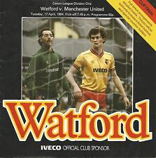 Football Programme - Watford v Manchester United - Div 1 - 17/4/1984