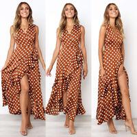 ❤️ Women's Polka Dot Casual Dress Ladies Summer Holiday Ruffles V Neck Sundress