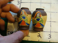 vintage Japanese tiny pair of hand painted vases