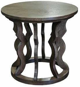 """24"""" Dia. Set of 2 Side Table Night Stand Solid Walnut Ornate Hand Carved Base"""