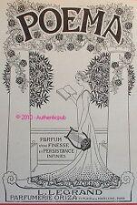 PUBLICITE PARFUM L LEGRAND POEMA PARFUMERIE ORIZA DE 1910 FRENCH AD PUB PERFUME