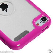 Apple iPod Touch 5 HYBRID CASE GUMMY COVER ACCESSORY HOT PINK CLEAR