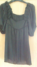 Atmosphere Black Satin Style Short Sleeve Blouse Top  size 10
