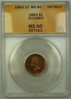 1883 Indian Head Penny Cent 1c ANACS MS-60 Details (Better Coin) RJS