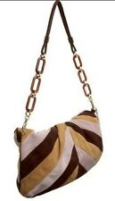 NEW BALLY Women 3 Way Brown Kid Suede Tote Clutch Shoulder Strap Handbag Purse