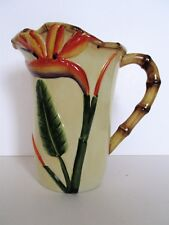 Pacific Rim Pitcher Hand Painted Porcelain Bird of Paradise Bamboo