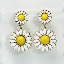 Boucles d`Oreilles Clip on Pinces Doré Fleur Marguerite Gros Jaune Blanc KS2