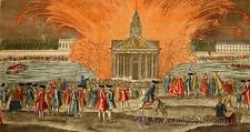 1770 - FUEGOS ARTIFICIALES EN LA PLAZA LUIS XV - Grabado Iluminado