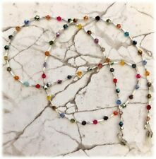 Sun Glasses/Spectacle Chain/Cord Mixed Bicone Glass Beads-Silver Twist Tubes