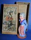 antique 1900's german composition caganer witch in american patriotic colors
