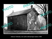 OLD 8x6 HISTORIC PHOTO OF JOHNSON NEBRASKA THE RAILROAD DEPOT STATION c1960